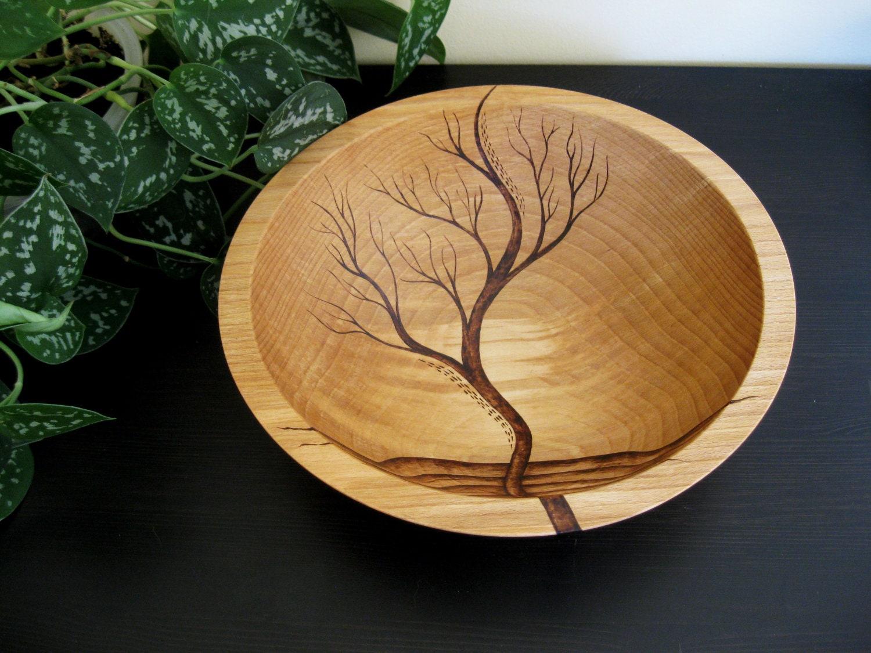 Wooden Bowl- Rising Tree, Wedding Gift,  Salad Bowl, Beech Wood, Pyrography, Woodburning - KDGArt