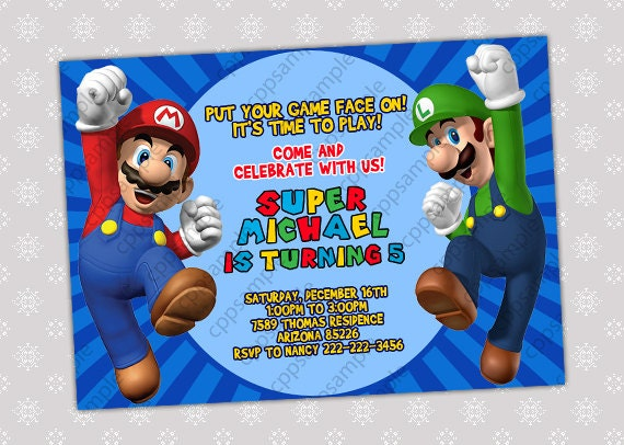 Mario Birthday Party Invitations with nice invitations layout
