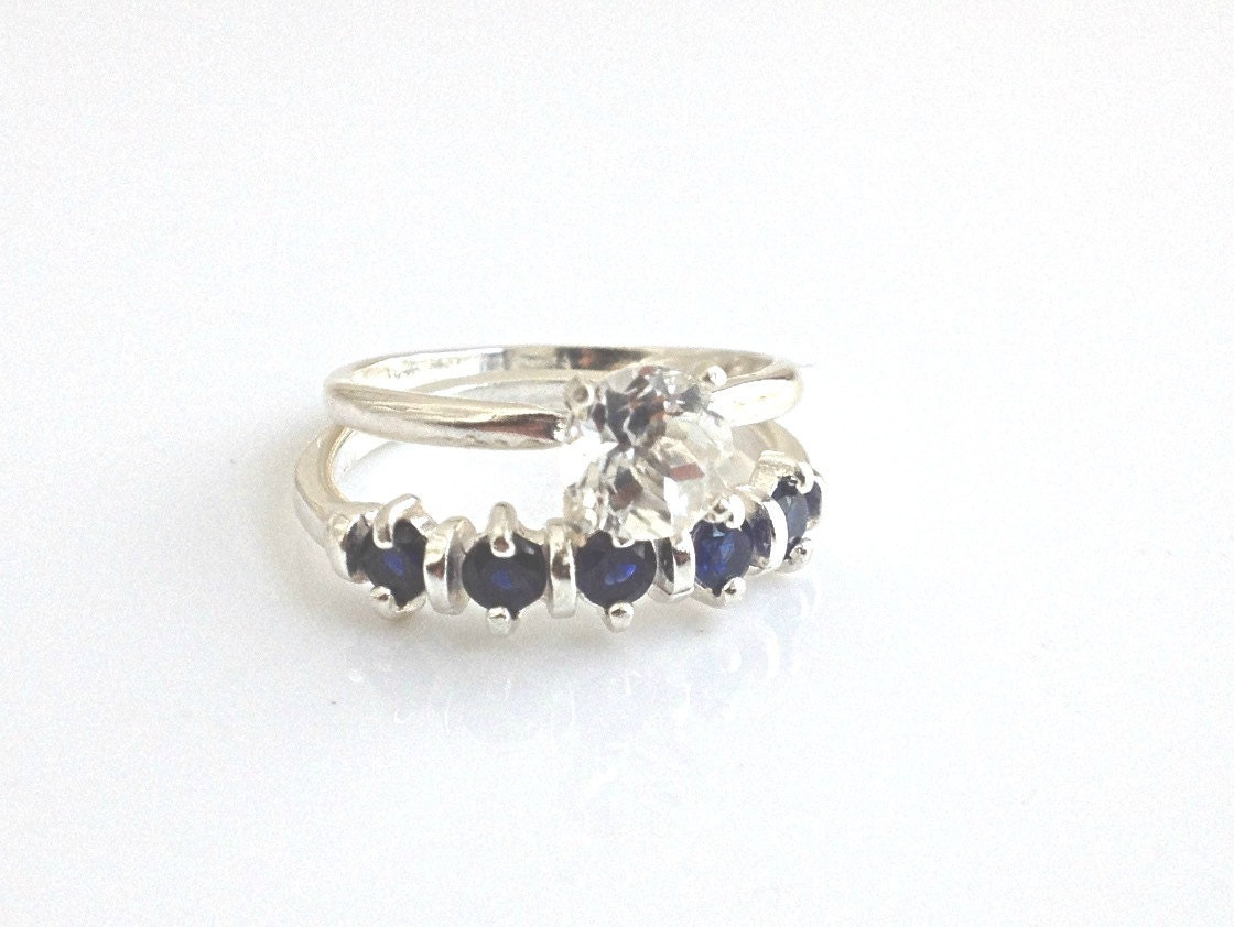 wedding ring set white topaz sapphire sterling by