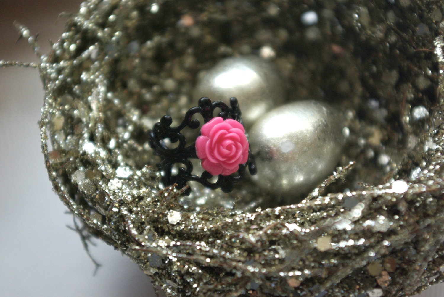 Chico Hot Pink Rose on Black Filigree Ring