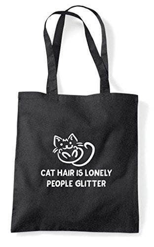 Car Hair Is Lonely People Glitter Cat Person Animal Lover Pets Funny Tote Bag Shopper