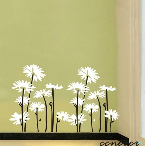 2sets daisy flowersremovable graphic art wall decals by