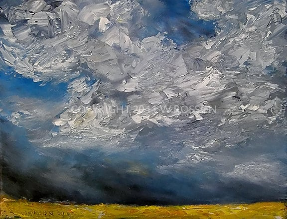 Fine Art Original Landscape Oil Painting Summer Sky Clouds Field Thunderstorm Winjimir Artist Direct  Gift Free US Shipping. - winjimir