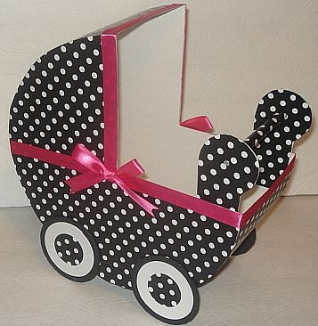 1 Black & White Polka Dot w/ Hot Pink Baby Carriage Table Centerpiece / Gift Box