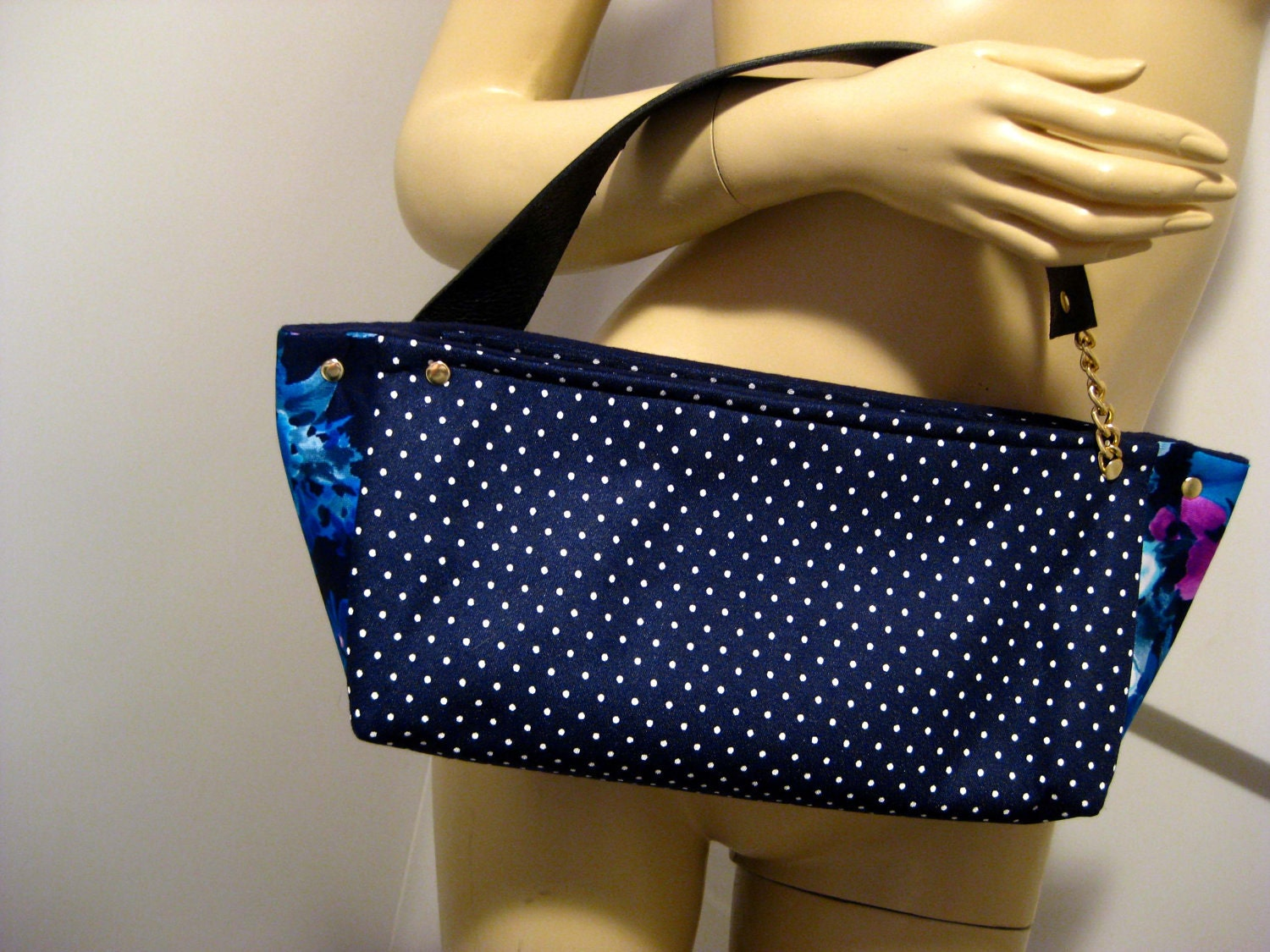 "Upcycled Polka Dot and Floral Polyester ""D"" Top Handle Bag"