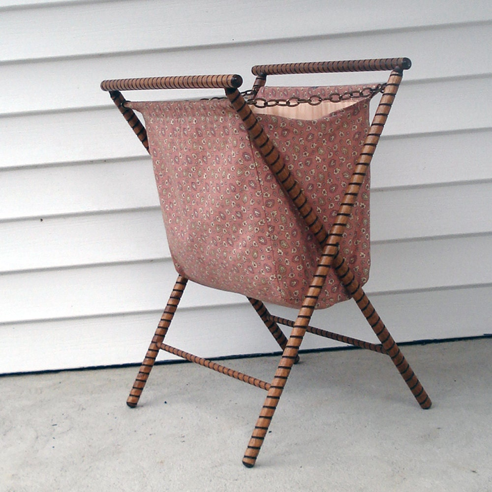 Knitting Bag Stand : Lovely wood knitting bag with stand by elritmoretro on etsy