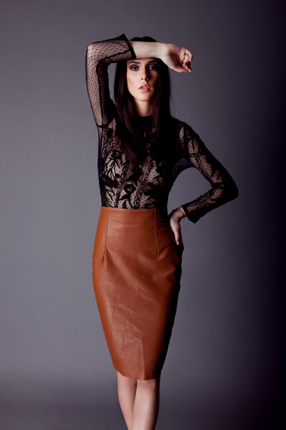 la lune genuine leather skirt by alchimieclothing on etsy
