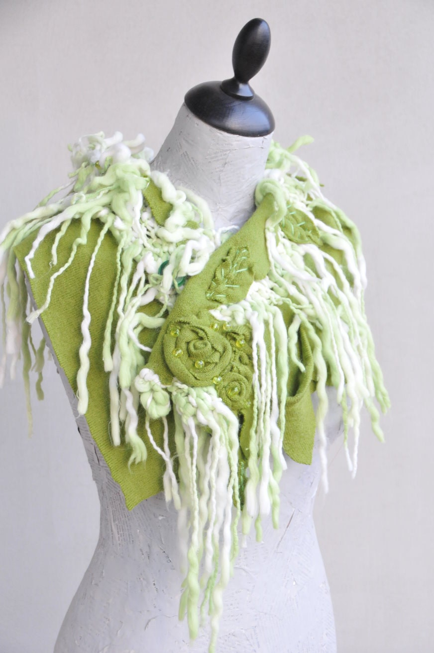 Green Greens White Fringe Soft Wool Up cycled Recycled Boho Bohemian Stole Shawl Wrap Scarf Funky Style - RecycledAccesso