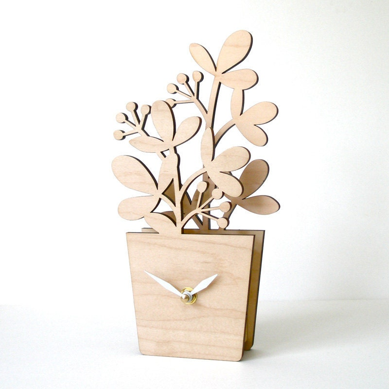 Houseplant Desktop Clock - Medium