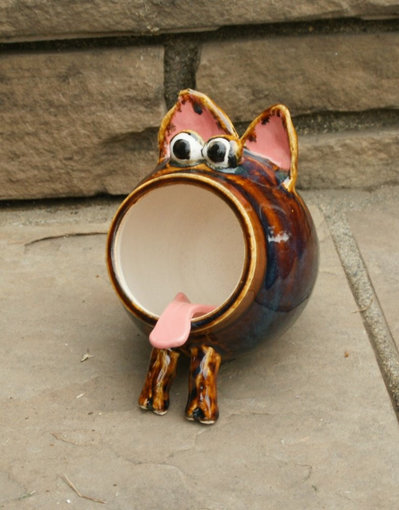 Bruno - Rootbeer Brown Ceramic Salt Pig, Hand Thrown Stoneware Pottery - muddywaterscc