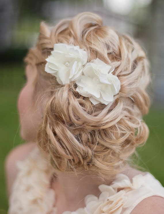 Flowers For Hair Wedding Australia : Bridal silk flowers wedding hair flower small by melindarosedesign