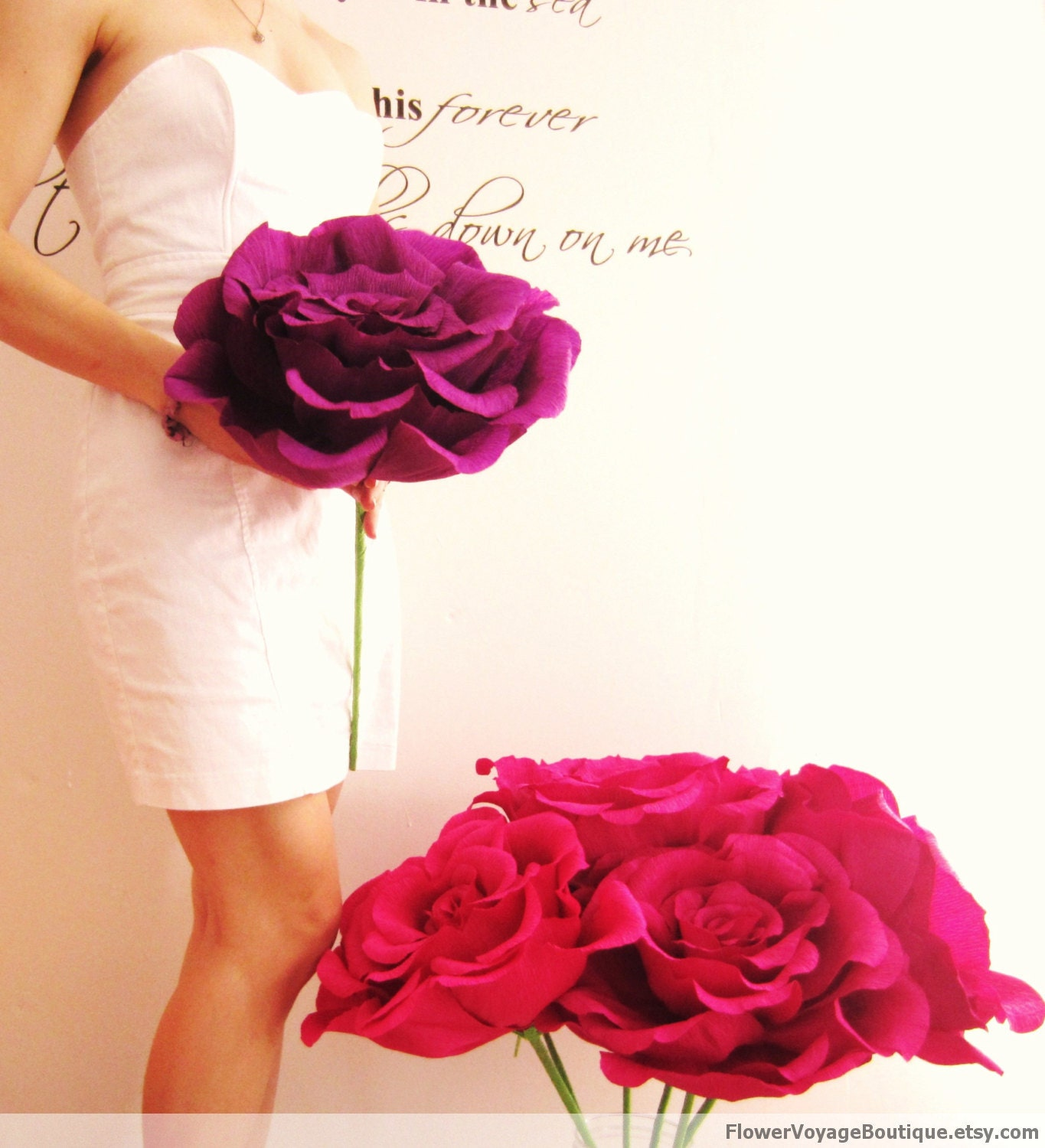 Go For Oversized Florals: Oversized Paper Flower With Long Stem. By FlowerVoyageBoutique