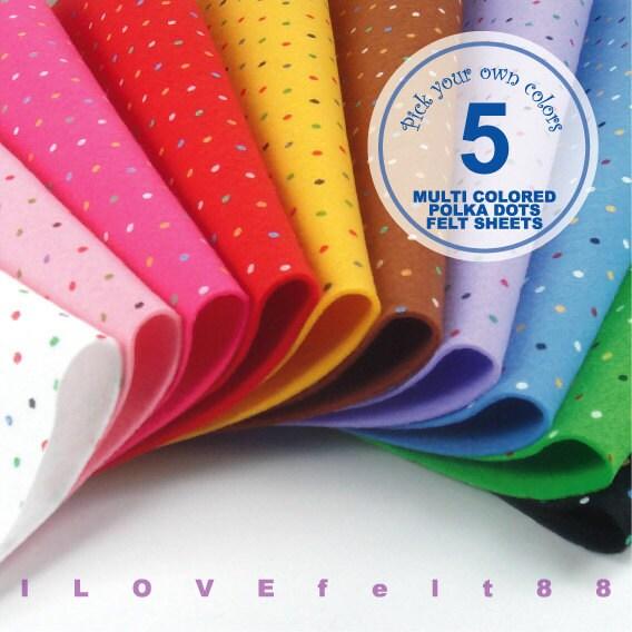 5 printed multi colored polka dots felt sheets by ilovefelt88 for Polka dot felt fabric