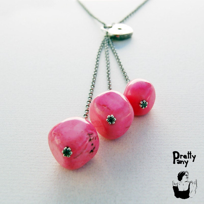 pink turquoise nugget beads with silver lock charm and silver chain necklace - PrettyPany