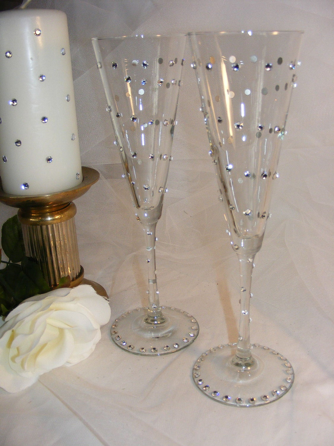 Elegant Wedding Champagne Toasting Flutes With By
