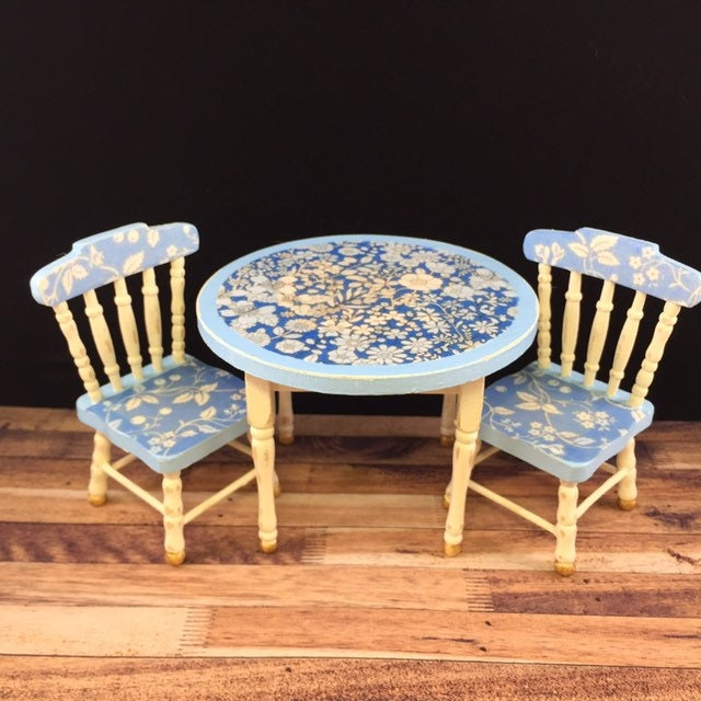 Dolls house furniture, doll house table and chairs, miniature shabby chic, dolls house kitchen, 1/12th scale table, doll house kitchen,