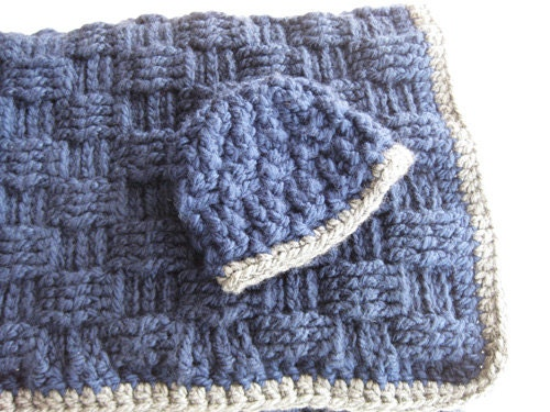 Crochet Pattern Baby Blanket and Hat Basketweave by ...