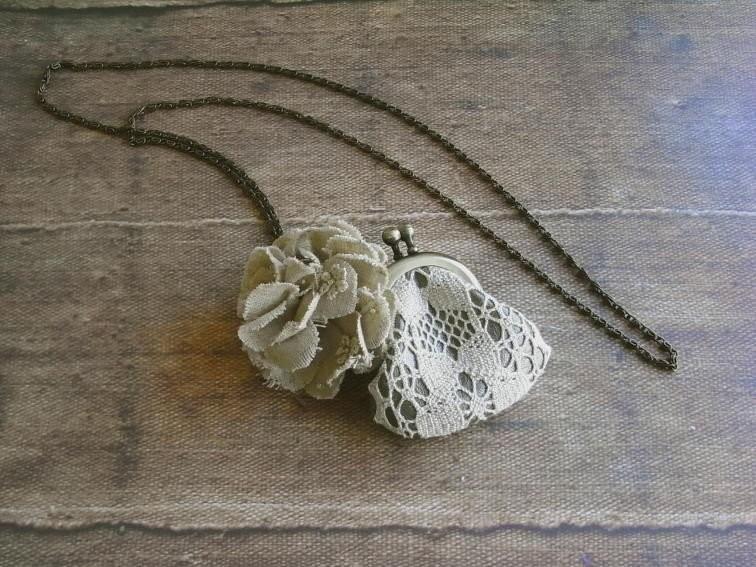 кожаный кошелек ожерелье - кружева и хана