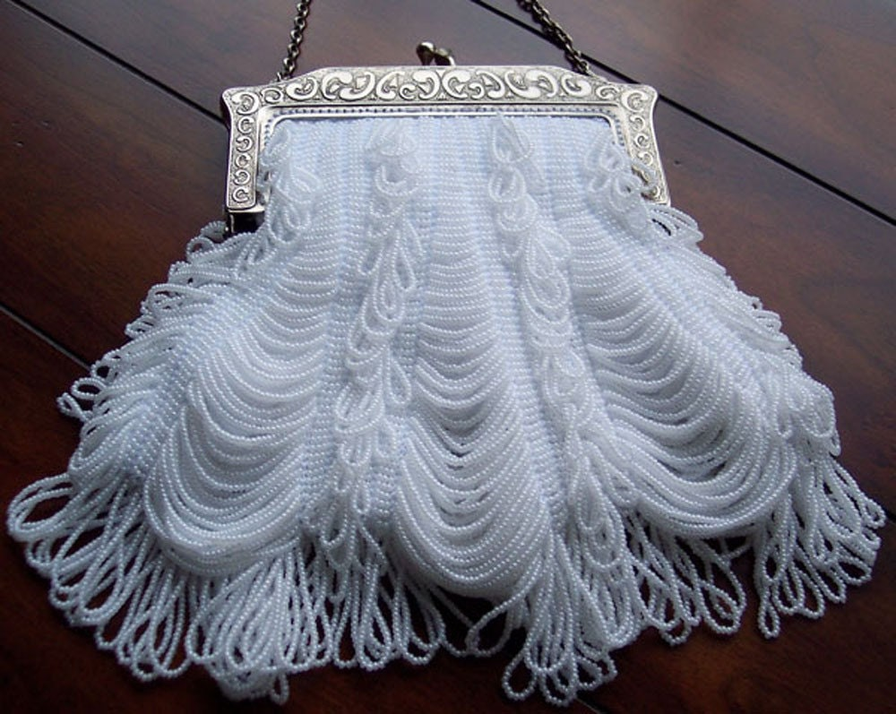 Items similar to Beaded Knitted Evening Bag - Chantilly ...