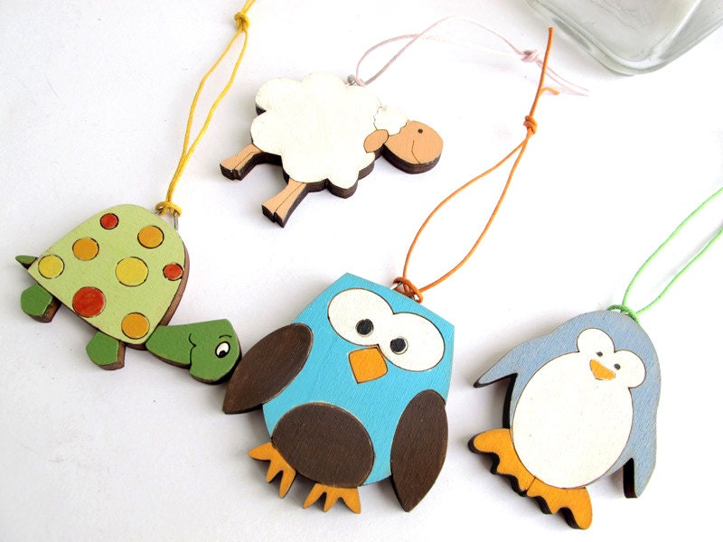 Kids Animals Ornaments,  kids decor, wooden holiday decor, Christmas gift set for kids, children decor