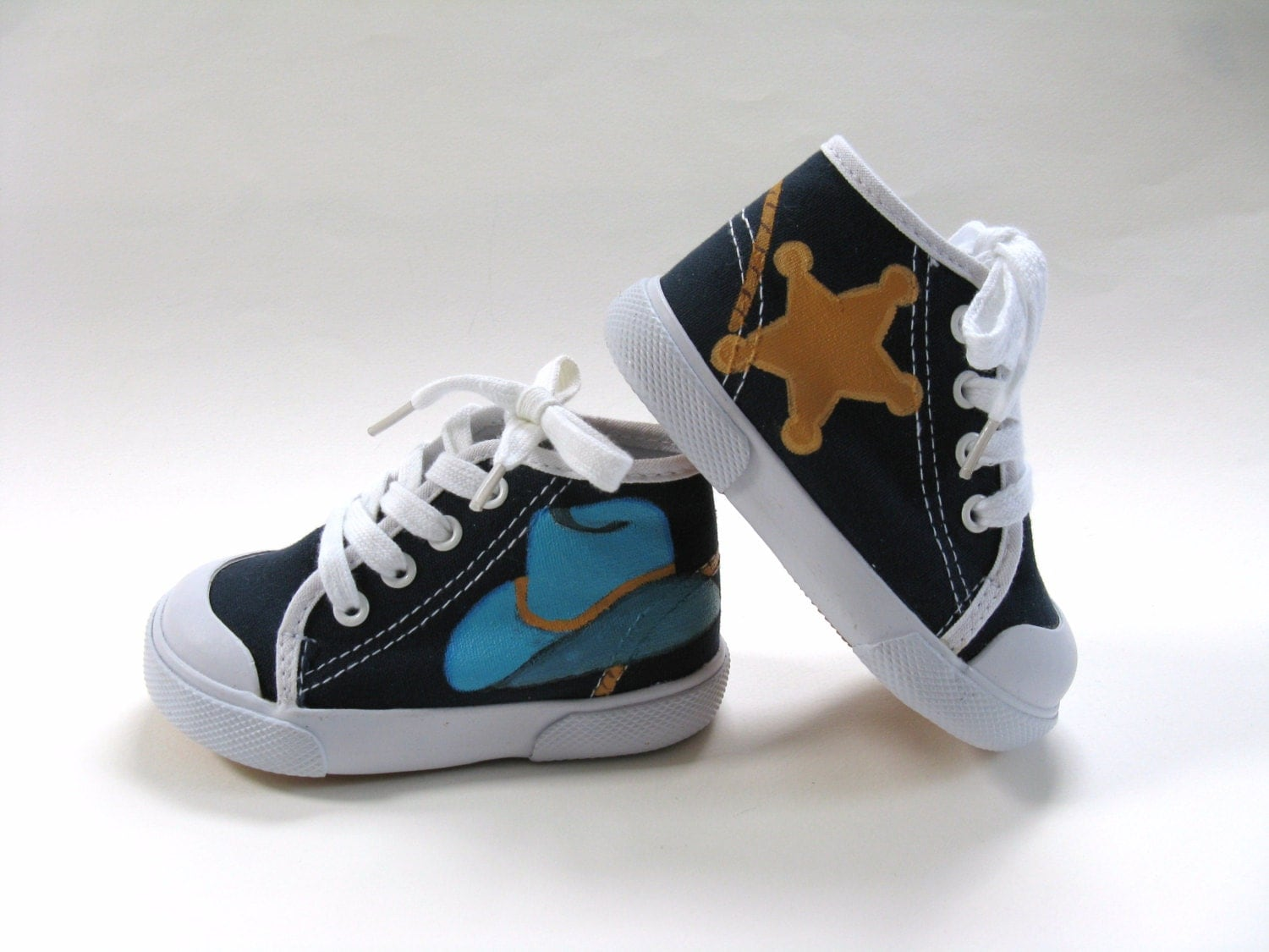 Boys Cowboy Shoes, Toddler, Birthday Party, Hand Painted, Hi Top Sneaker - boygirlboygirldesign