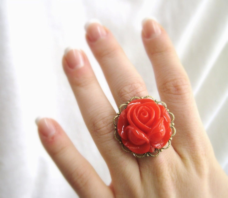 Custom Color Rose Ring Rose Jewelry by SpotLightJewelry