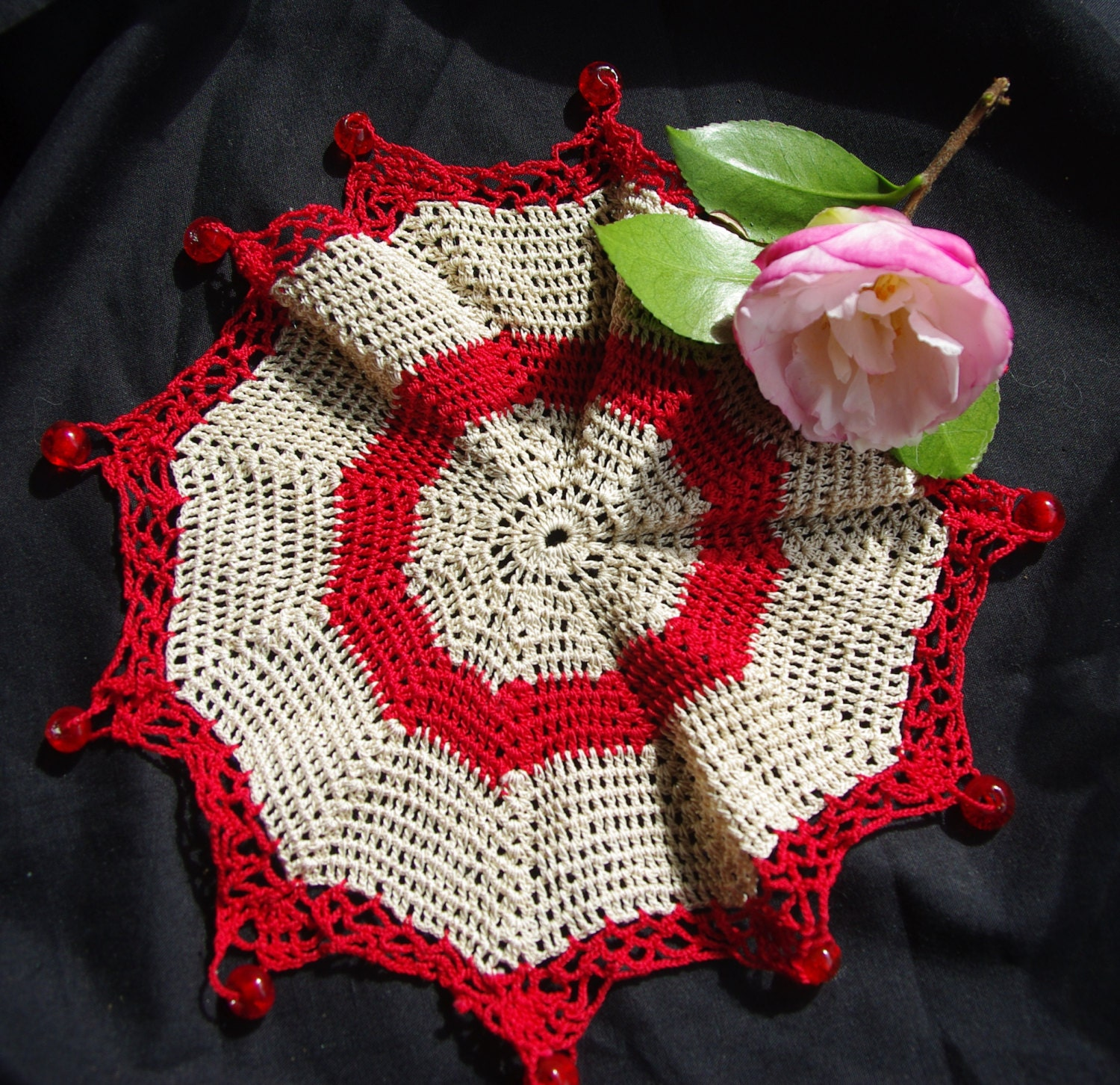 Antique Crocheted Milk Jug Cover. Cream & Red Glass Beads. Afternoon Tea Party