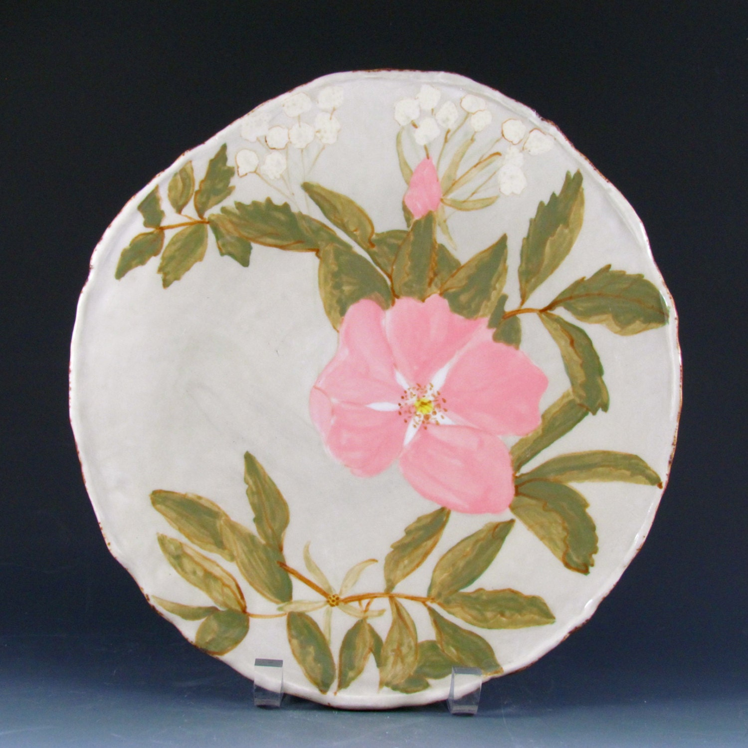 Large serving plate with wild roses