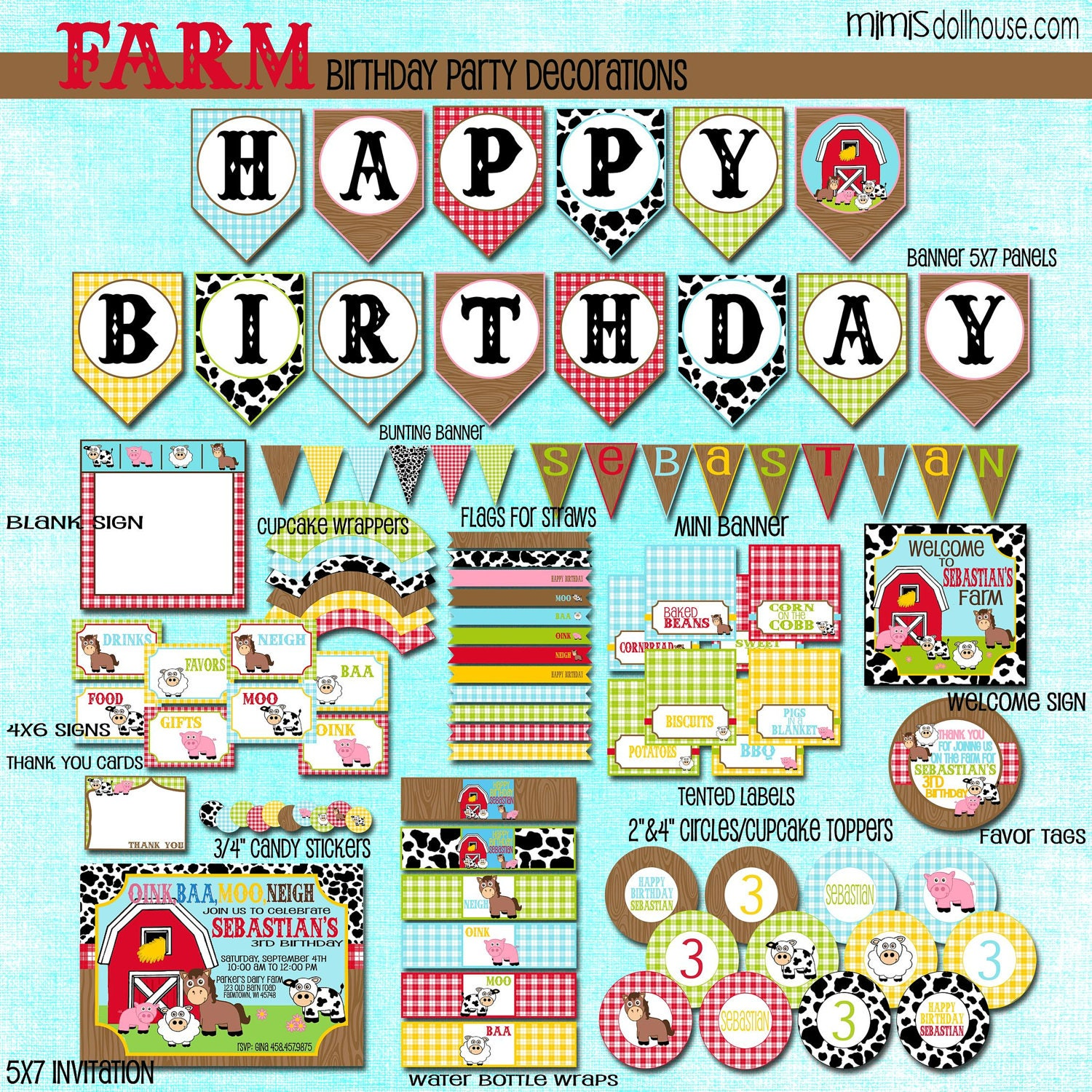 Farm Decorations Printable Barnyard Birthday Party Decorations Barn