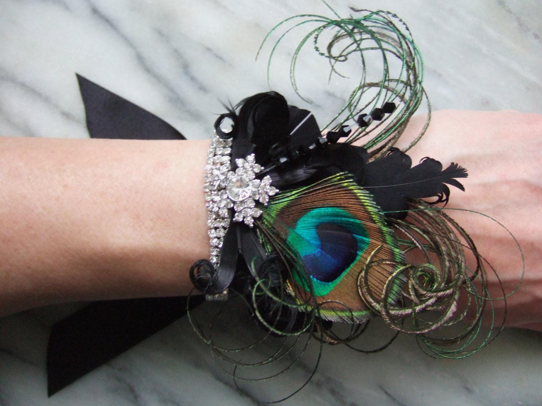 Black Green Bridal Wrist Corsage Wristlet Bracelet Cuff Peacock Feathers Crystal Cally Art Deco 1920s Gatsby Flapper Party Brides Wedding