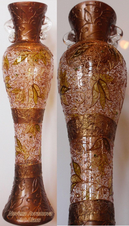 Медные Кружева стеклянной вазе Ручная роспись изумруд, топаз света