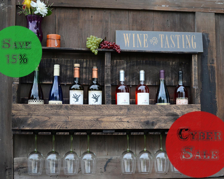 SALE! Distessed Pallet Wine Rack, Reclaimed Wood Wine Rack, 8 Wine Bottle Storage & 8 Wine Glass slots - Dark Walnut Finish was 99 dollars