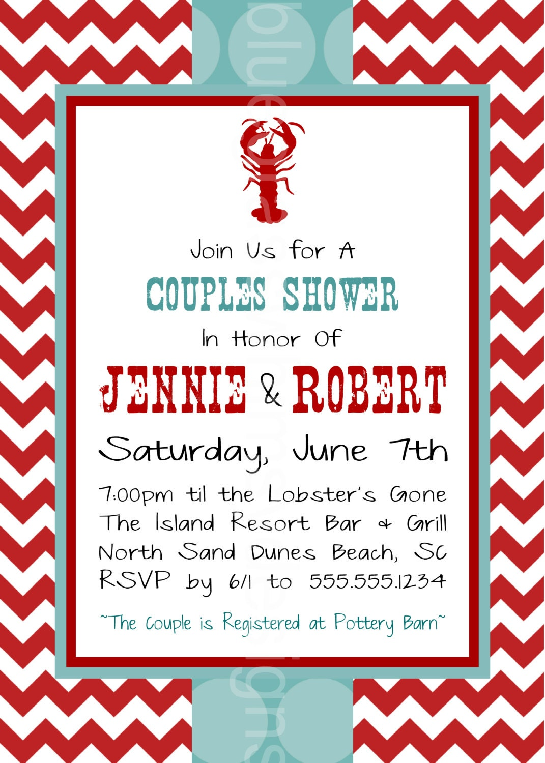 Lobster Boil/ Clam Bake Couples Shower Red by BluegrassWhimsy
