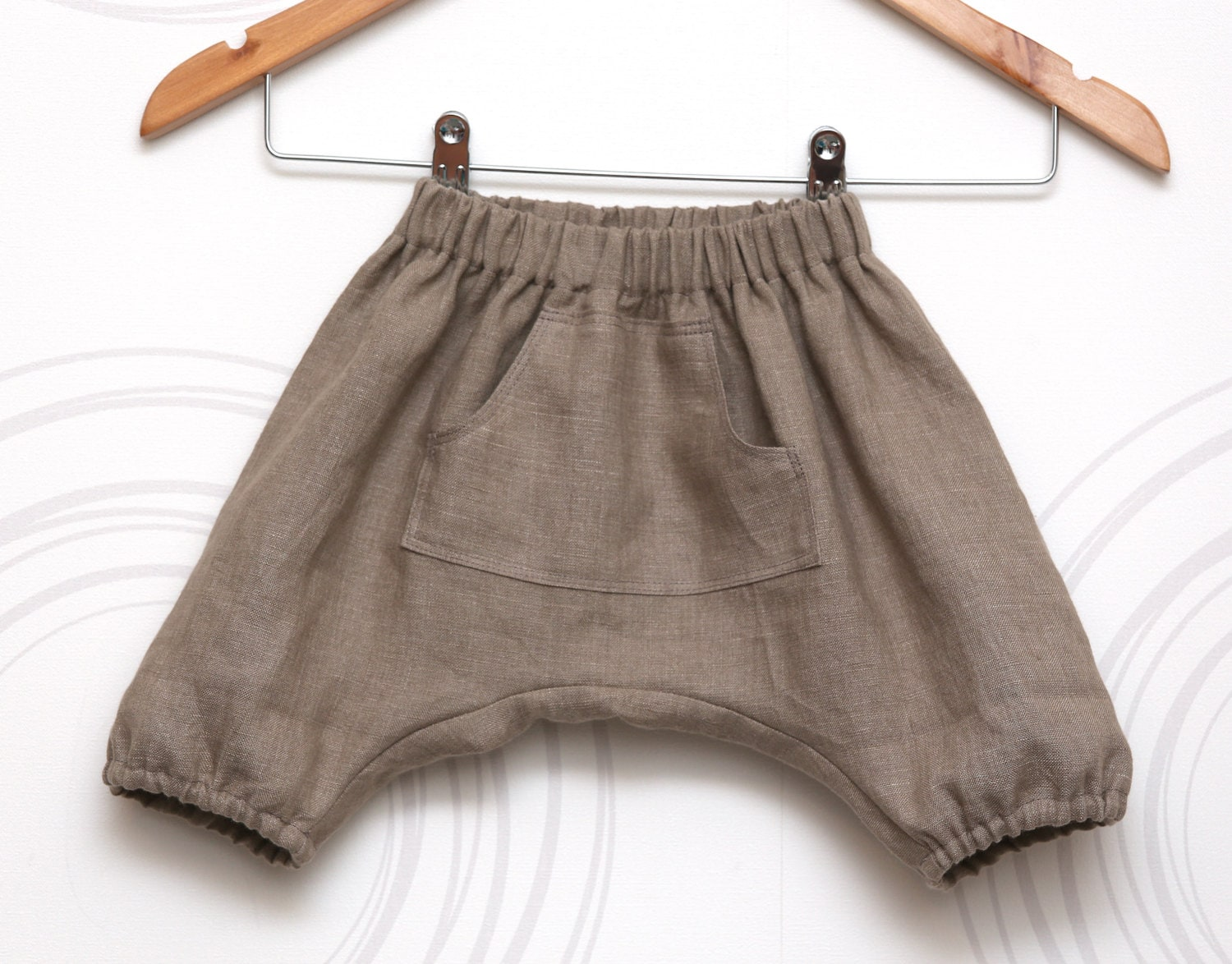 Linen boys harem shorts, grey-brown toddler sarouel, bloomers, aladdin pants, pantalones //  Size US 6month -6 years (EU 72-116) - ZanziBach