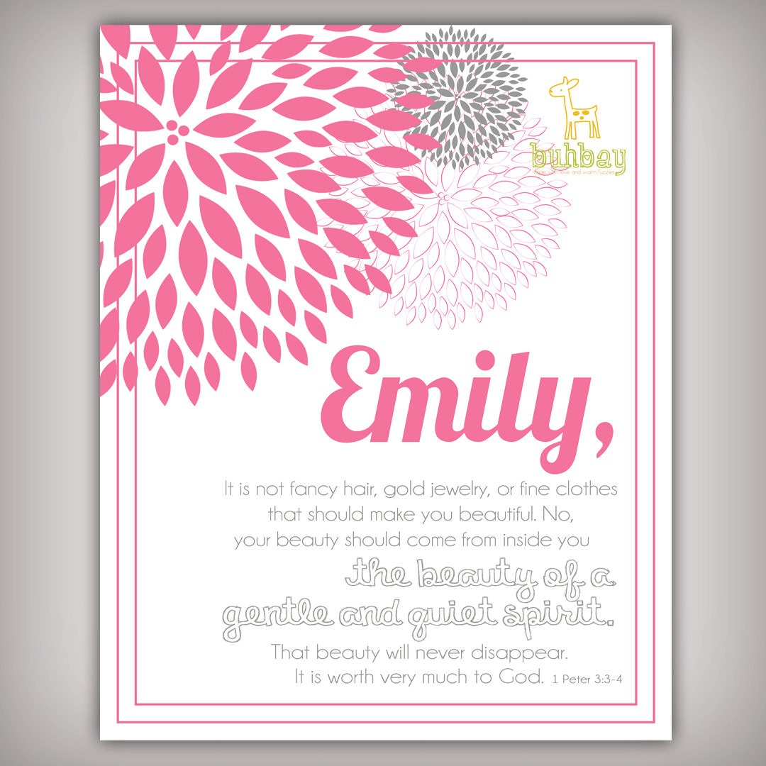 scripture bible verse 8x10 art print for girls room 1 by