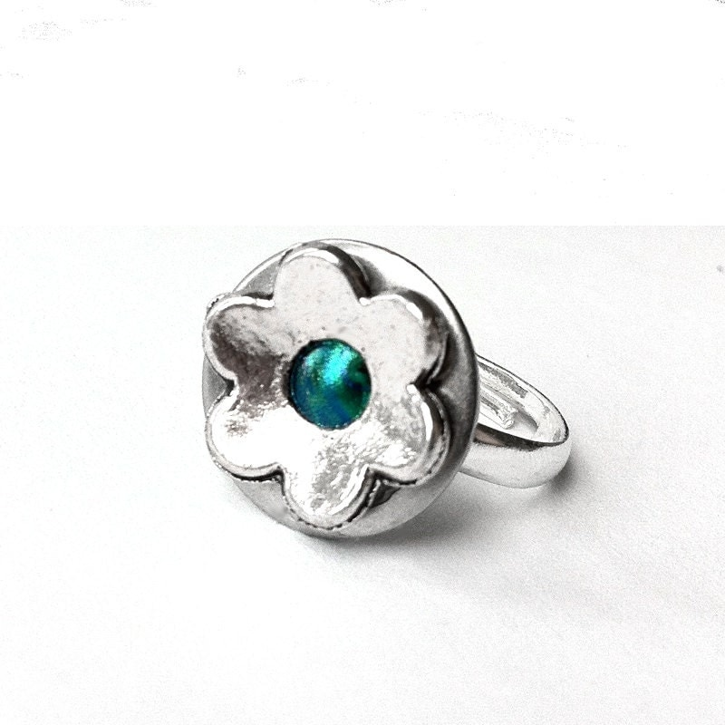 Silver Flower Ring, Cute Ring, Rings for Women, Teal Jewelry, Silver Ring, Womens Ring, Customizable - LoralynDesigns