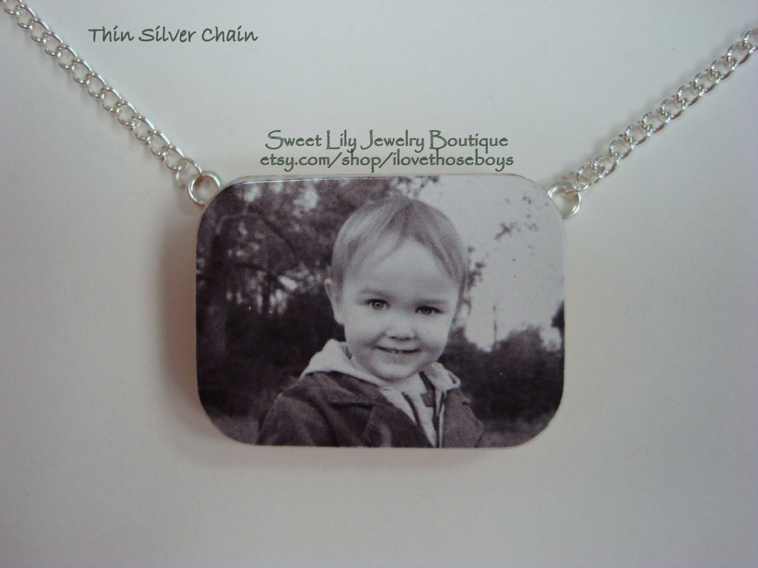 Custom One-Sided Wooden Rectangle Photo Pendant with Necklace ~Personalized Jewelry