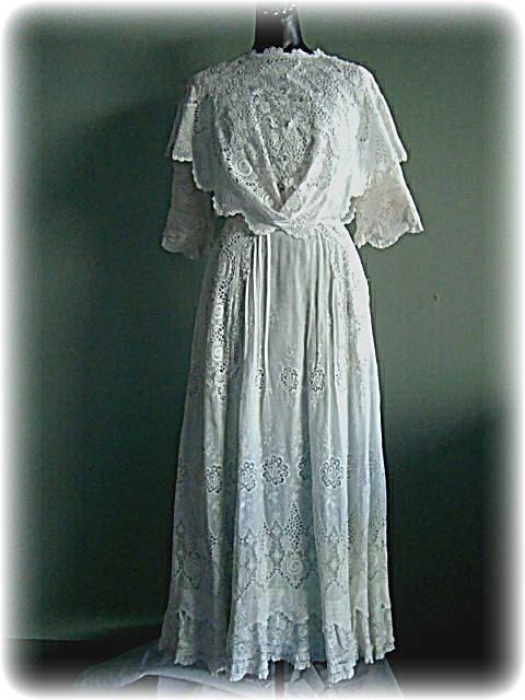 1910 Antique White Lace Downton Abbey Style Edwardian Dress wedding gown $425.00 AT vintagedancer.com