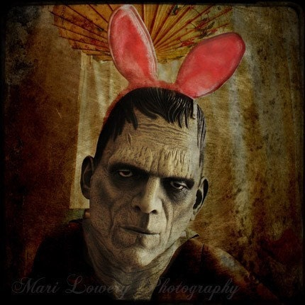 Halloween Decoration, Frankenstein in Pink Bunny Ears Photography Print, Son of Frankenbunny, Black Friday Etsy, Cyber Monday Etsy