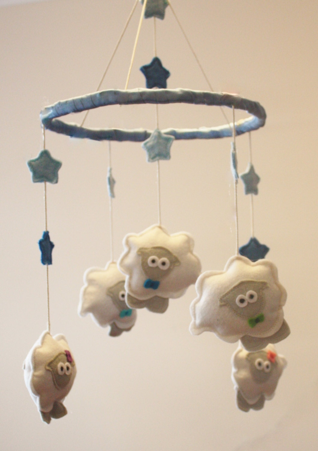 Counting sheep cot mobile baby room decor by buttonowlboutique for Baby cot decoration