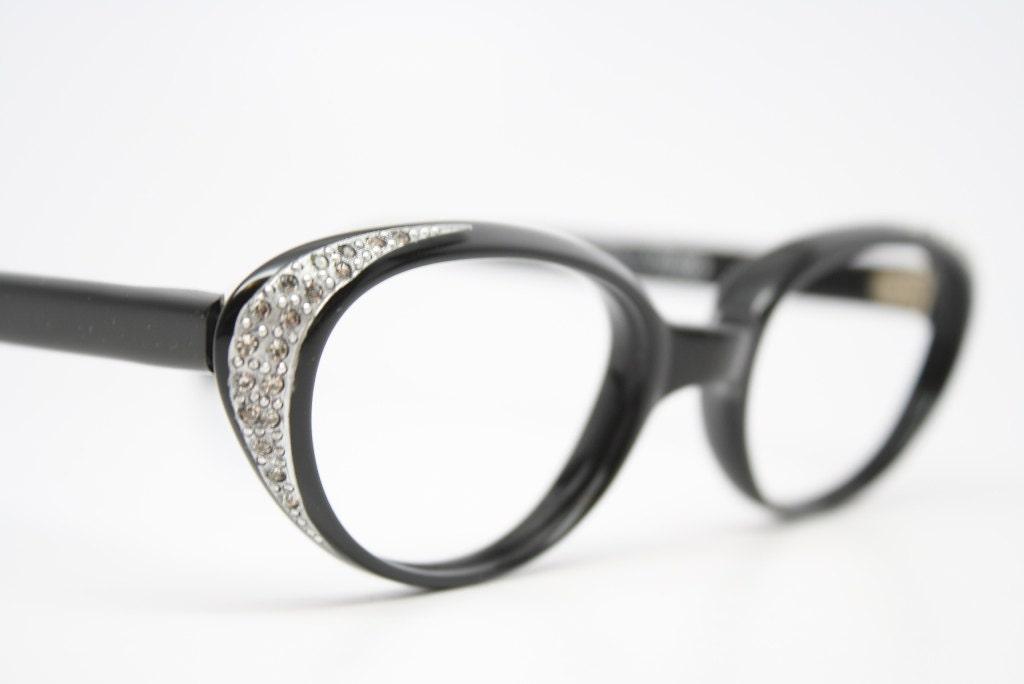 black cat eye glasses rhinestone vintage by VintageOpticalShop