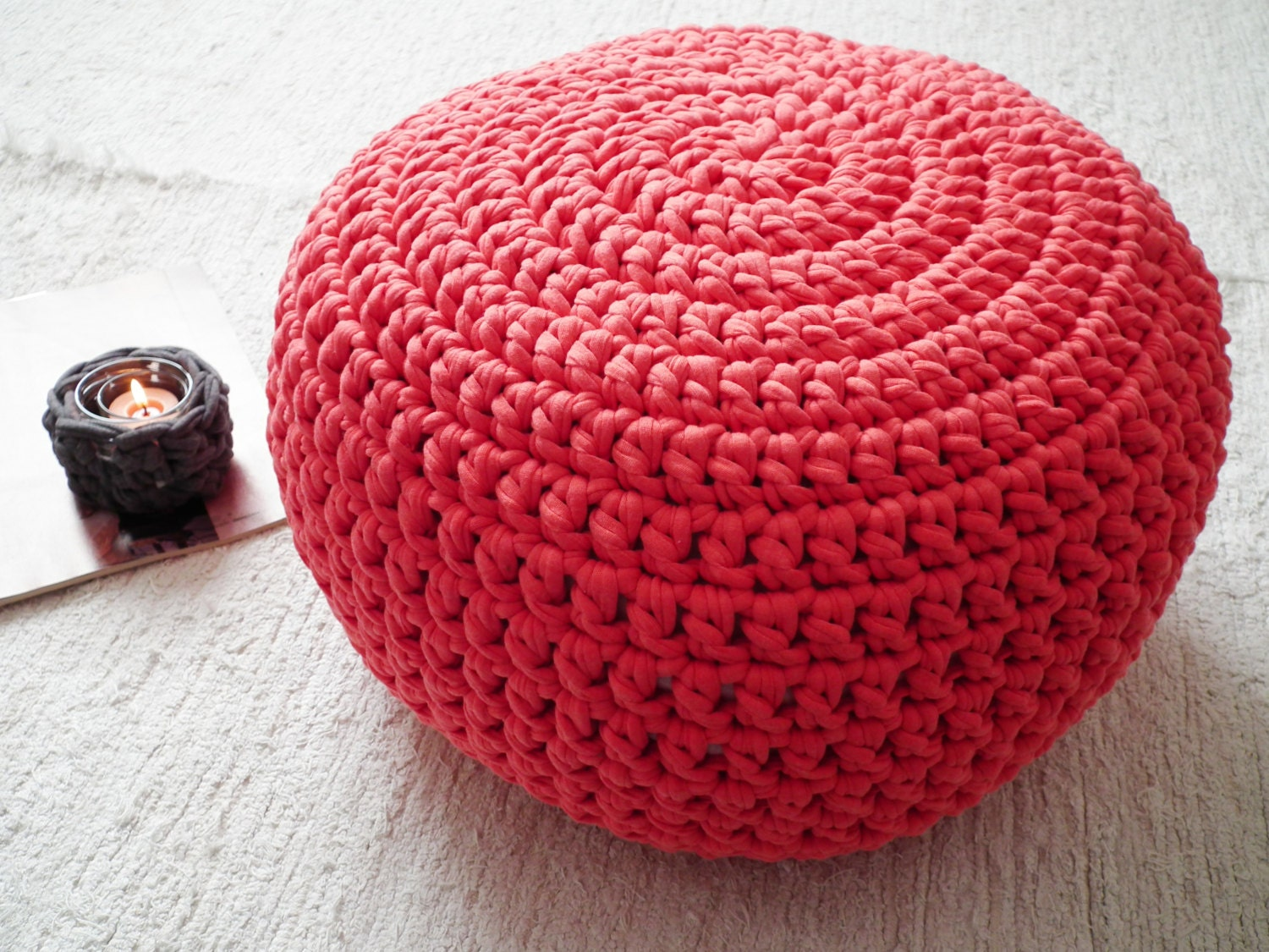 Coral Crochet Pouf Ottoman Coral Crochet Floor By LoopingHome