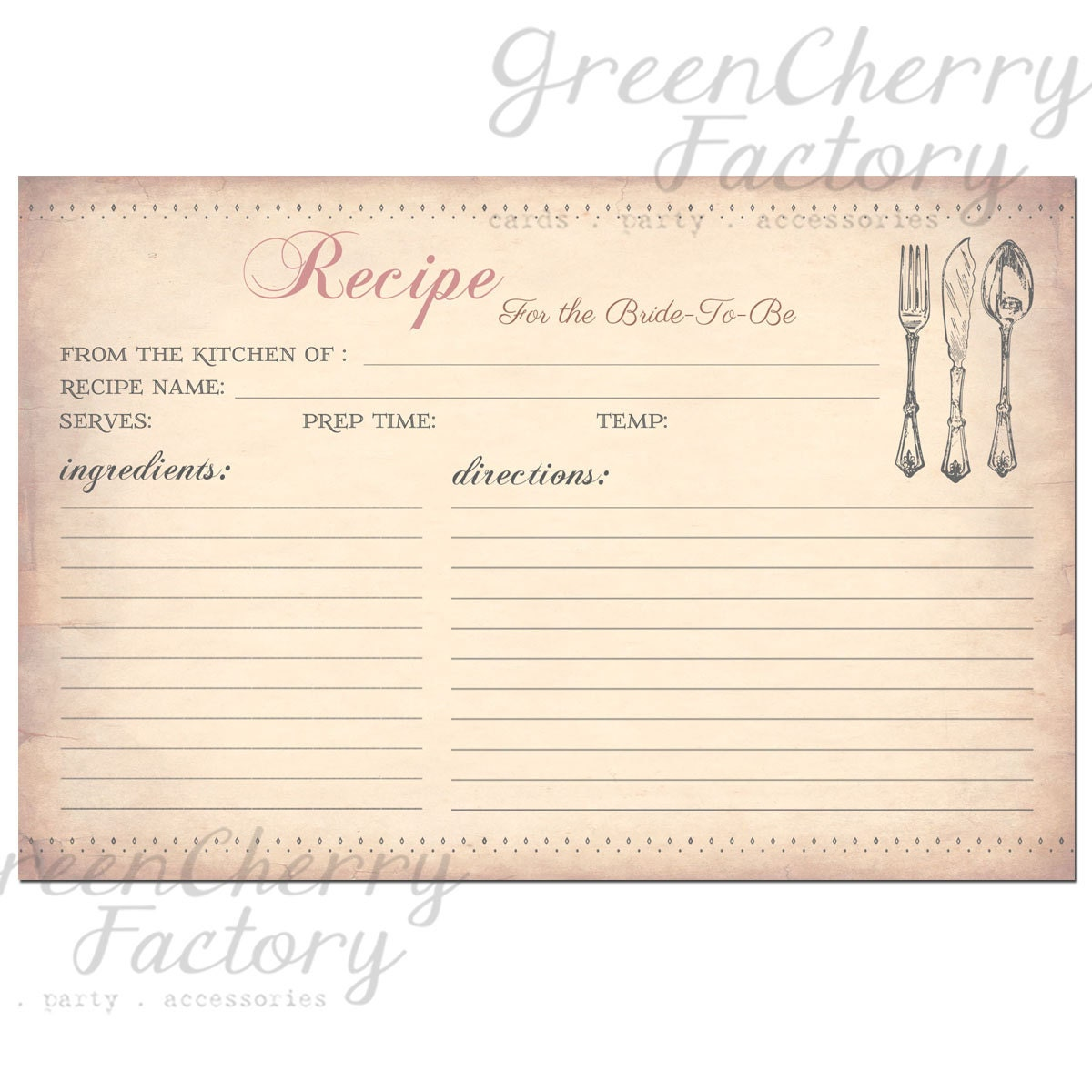 Instant download printable recipe card vintage peach background