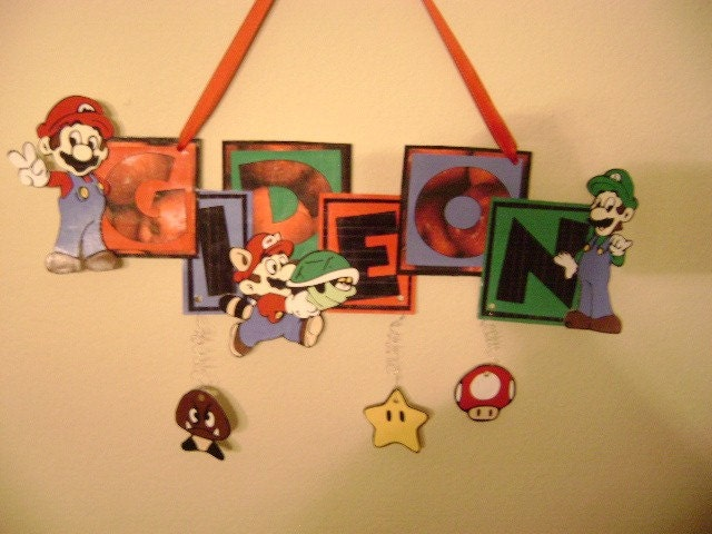 Super Mario Brothers Name Sign