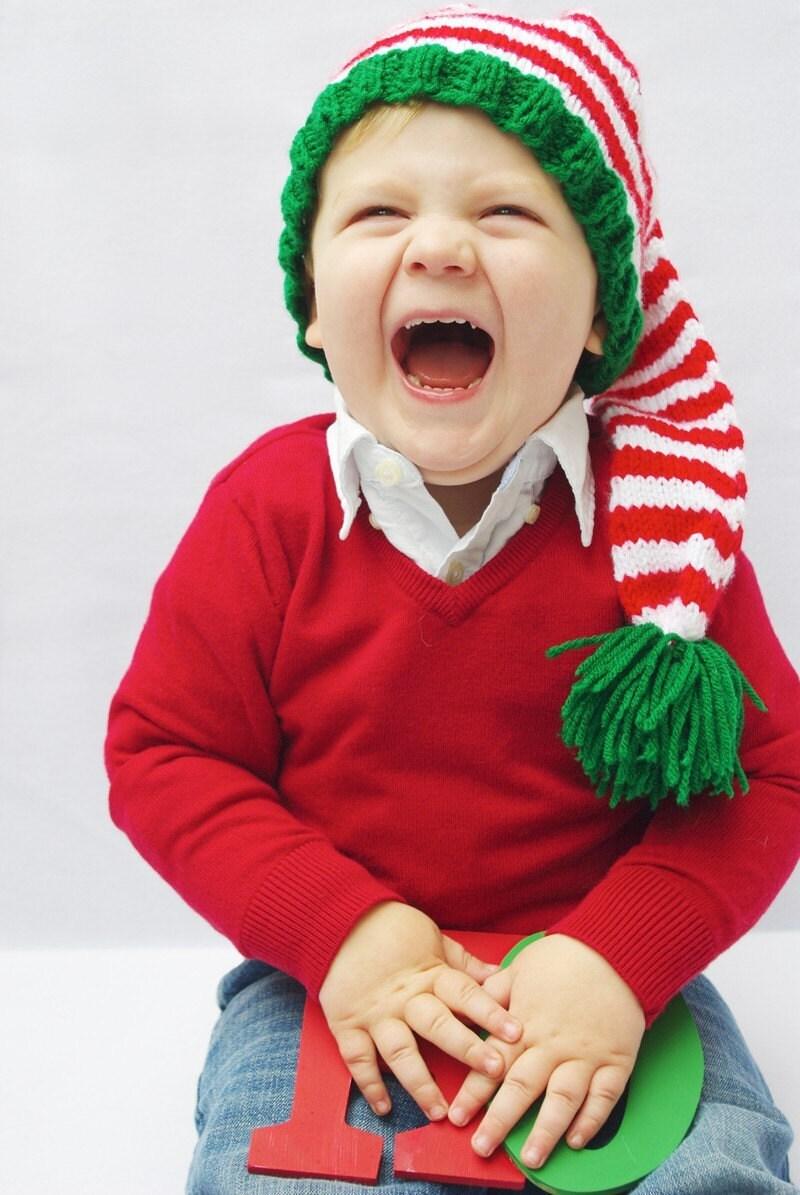 Santas Helper Knitted Elf Hat for Newborns by Bowrene on Etsy