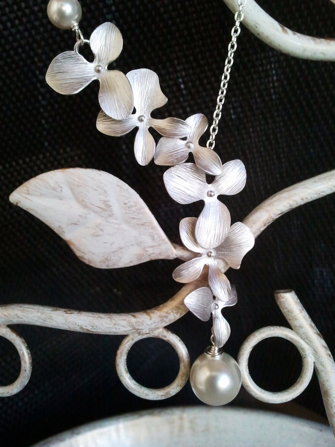 Wedding jewelry, 5 necklaces - Dangling Triple Orchid Flowers Lariat - bridal jewelry, bridesmaids, multiple