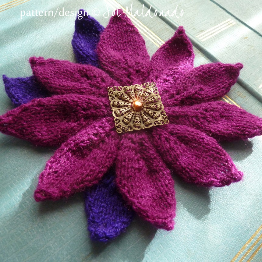 American Knitting Abbreviations Ssk : Knitting flower poinsettia pdf pattern brooch or by bysol