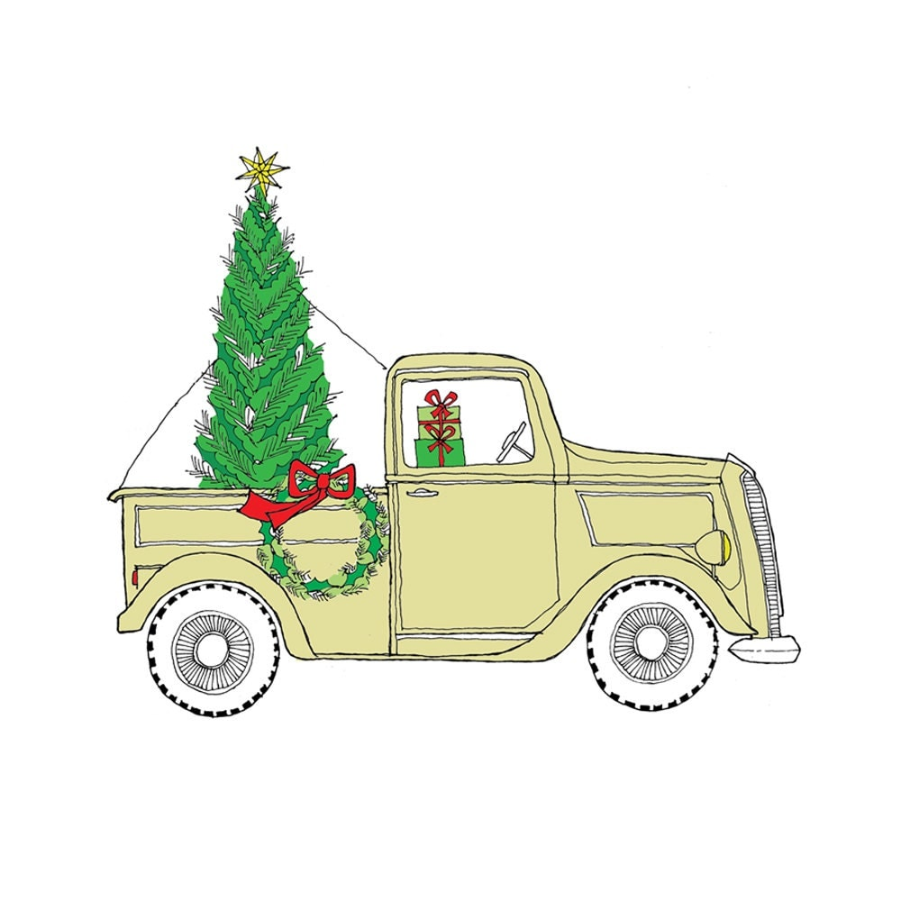 Vintage Truck at the Tree Farm  - Christmas Card  - set of 8 - rachelink