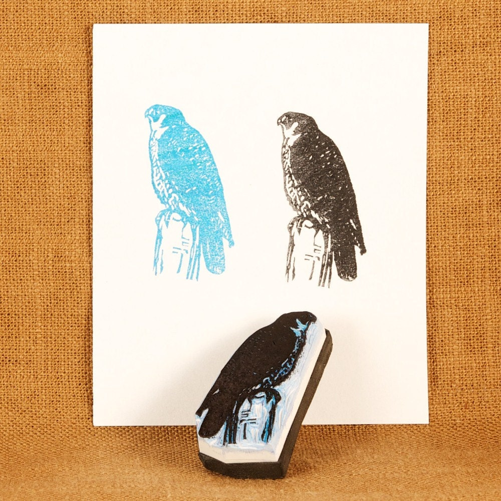 Peregrine Falcon Rubber Stamp - Hand Carved Rubber Stamp - jackbear
