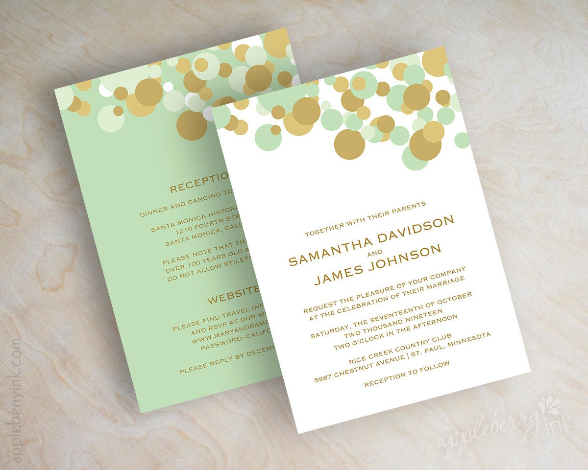 Mint And Gold Wedding Invitations and get inspiration to create nice invitation ideas